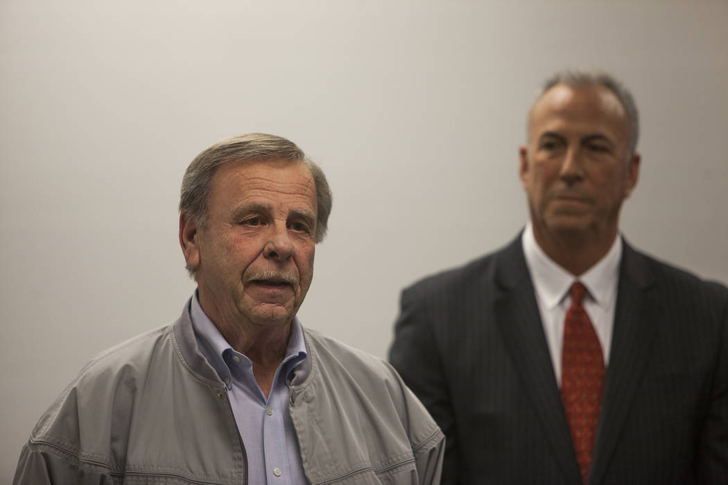 Retired North Las Vegas Detective Bob King answers questions from the media at a press conference to discuss new discoveries in the case of the disappearance of the 3-year-old Francillon Pierre, w ...