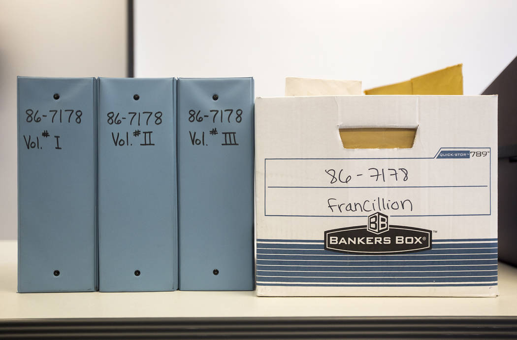 The case file for 3-year-old Francillon Pierre, who vanished in 1986, at the North Las Vegas Detective Bureau in North Las Vegas, Monday, Feb. 11, 2019. (Rachel Aston/Las Vegas Review-Journal) @ro ...