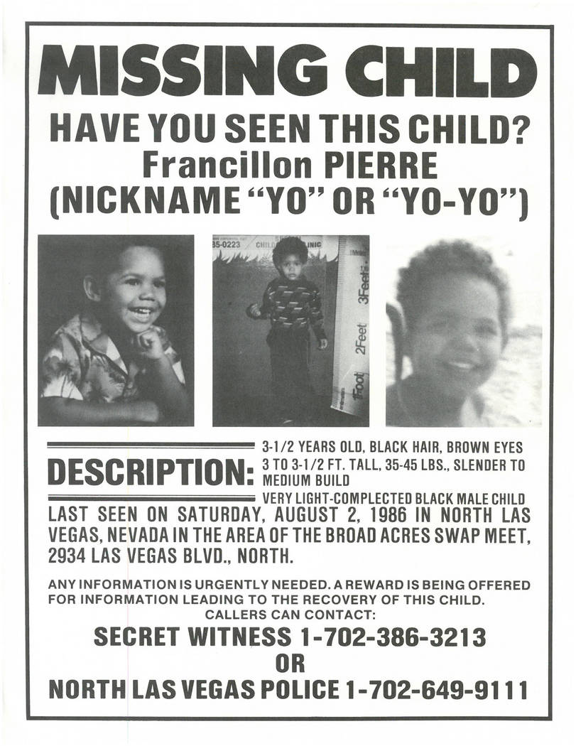 A missing-child poster for Francillon Pierre, 3, who went missing Aug. 2, 1986, in North Las Vegas.