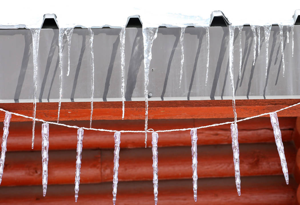 Icicles are seen on the roof edge at Mount Charleston north of Las Vegas on Monday, Feb. 11, 2019, in Las Vegas. (Bizuayehu Tesfaye/Las Vegas Review-Journal) @bizutesfaye