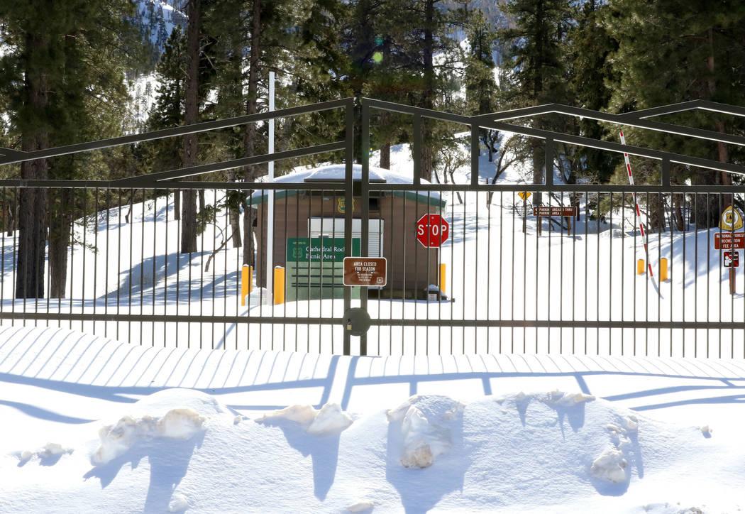 The entrance to Cathedral Rock picnic area at Mount Charleston is blocked by snow on Monday, Feb. 11, 2019. (Bizuayehu Tesfaye/Las Vegas Review-Journal) @bizutesfaye