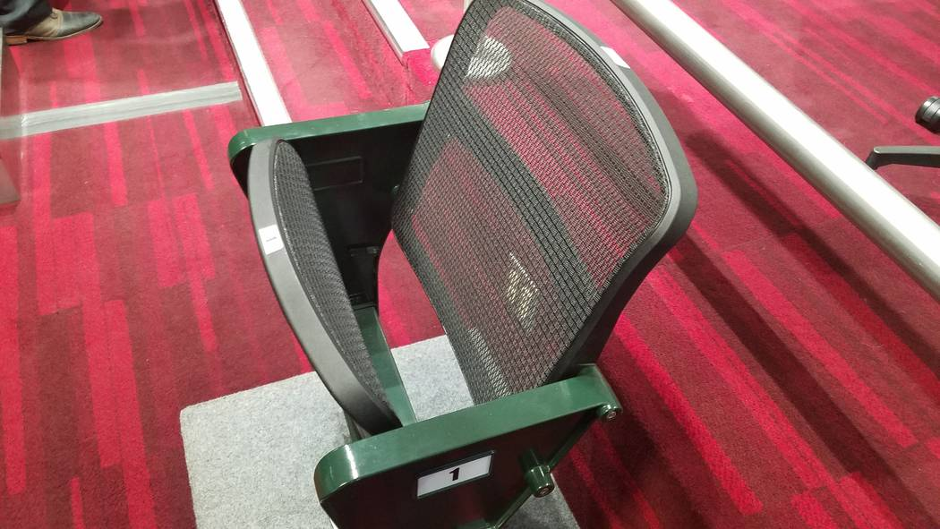 Las Vegas Aviators president and chief operating officer Don Logan brought an example of the 4Topps AirFlow individual mesh seats being installed at the new $150 million Las Vegas Ballpark to the ...