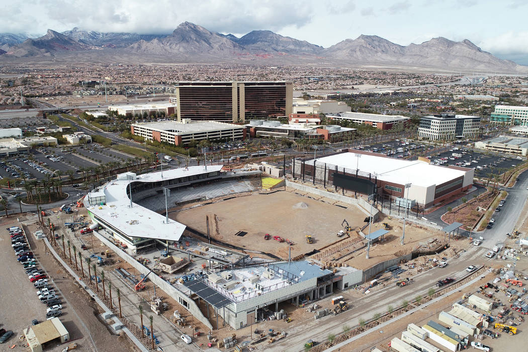 The Las Vegas Ballpark in Summerlin is shown under construction in this aerial photo taken on Jan. 16, 2019. (The Howard Hughes Corporation)