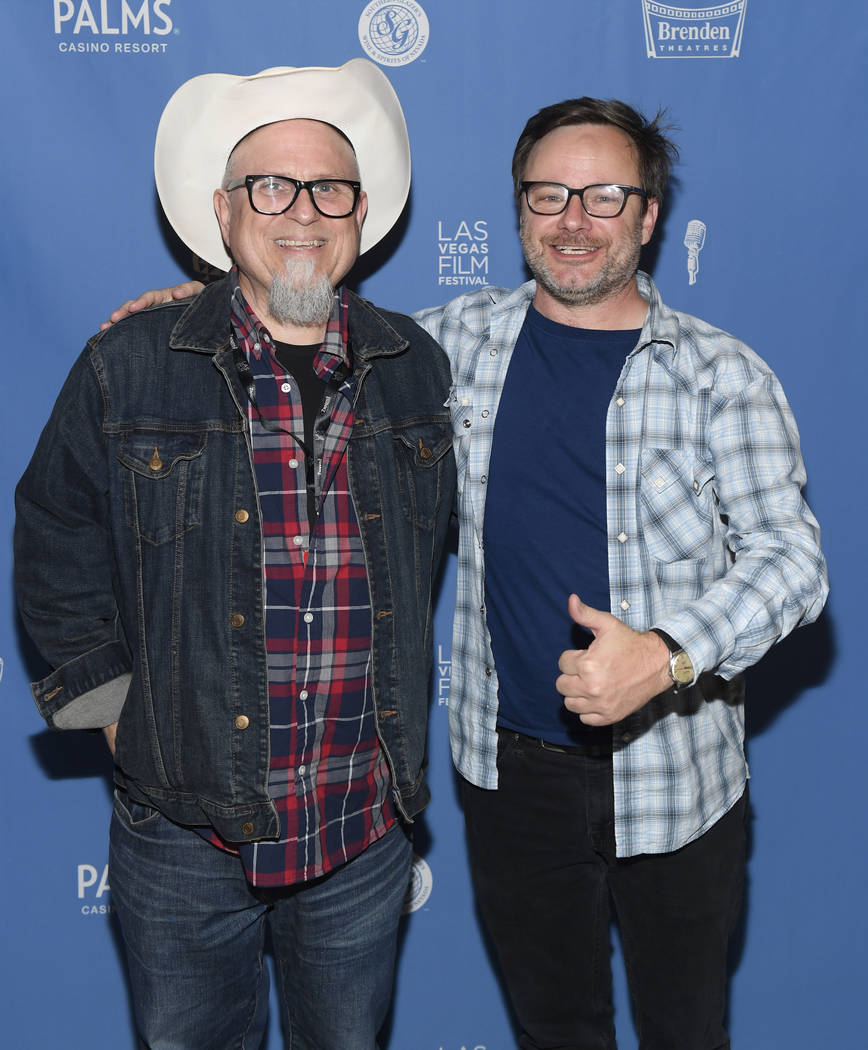 Las Vegas Film Festival official Mike Plante, right, is shown with actor Bobcat Goldwaith at Brenden Theatres at the Palms during the 2018 festival. (Las Vegas Film Festival)