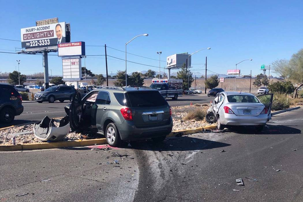 One person died after a two-car crash on Boulder Highway just south of the U.S. Highway 95 on Friday, Feb. 8, 2019. (Nevada Highway Patrol)