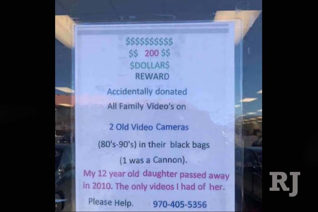 A sign posted at the Salvation Army story at Durango Drive and Flamingo Road asks for helping in finding videotapes that were mistakenly donated to the charity. (Edie Rodriguez)