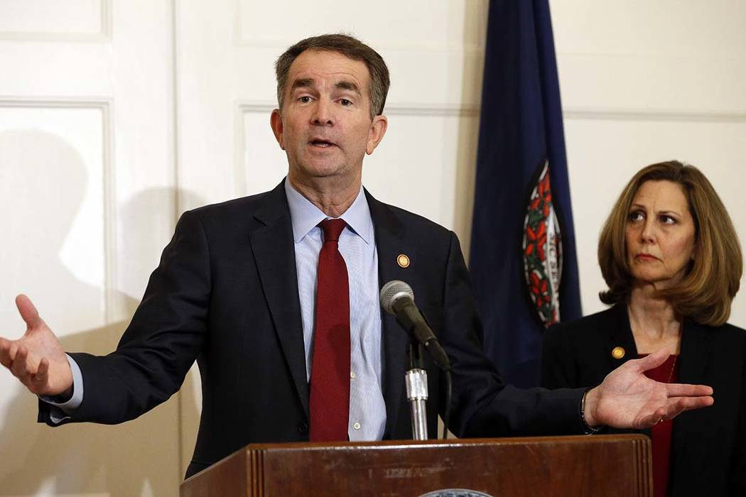Virginia Gov. Ralph Northam talks during an interview at the Governor's Mansion, Saturday, Feb. 9, 2019 in Richmond, Va. The embattled governor says he wants to spend the remaining three years of ...
