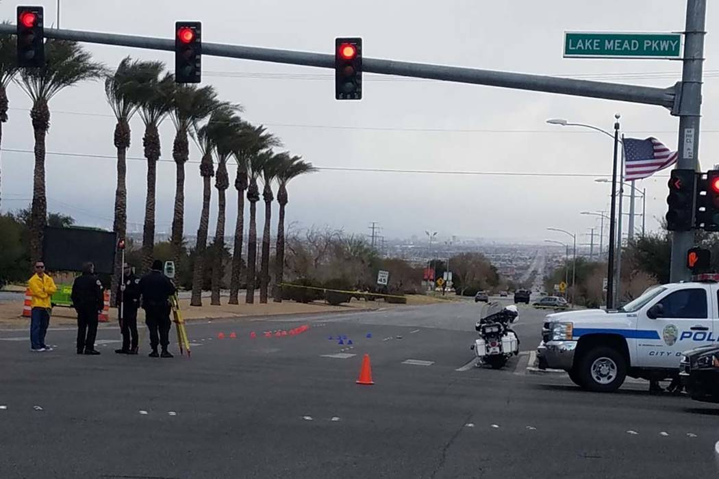 Henderson police investigate a hit-and-run crash on Sunday, Feb. 10, 2019, near Lake Mead Parkway and Boulder Highway. Three people were hospitalized after being hit by a vehicle near the intersec ...