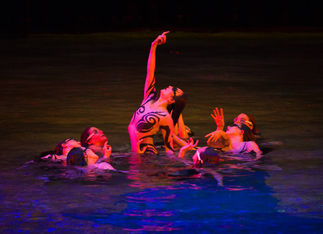 """Performers with Cirque du Soleil rehearse the scene """"Fishermen"""" during a sneak preview of the seventh annual philanthropic production """"One Night for One Drop 2019"""" at the & ..."""