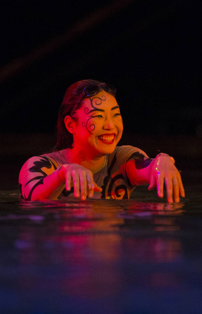 """Performers with Cirque du Soleil share a laugh with producers during a sneak preview of the seventh annual philanthropic production """"One Night for One Drop 2019"""" at the """"O"""" The ..."""