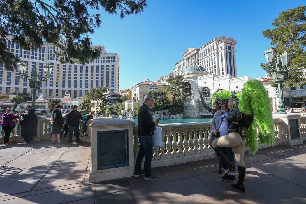 Tourists gather in front of the Bellagio Fountains on the Strip in Las Vegas, Monday, Feb. 11, 2019. Caroline Brehman/Las Vegas Review-Journal