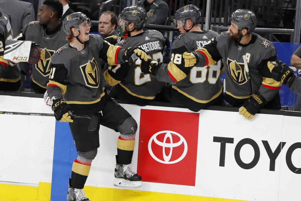 Vegas Golden Knights center Cody Eakin (21) celebrates after scoring against the Columbus Blue Jackets during the third period of an NHL hockey game Saturday, Feb. 9, 2019, in Las Vegas. (AP Photo ...