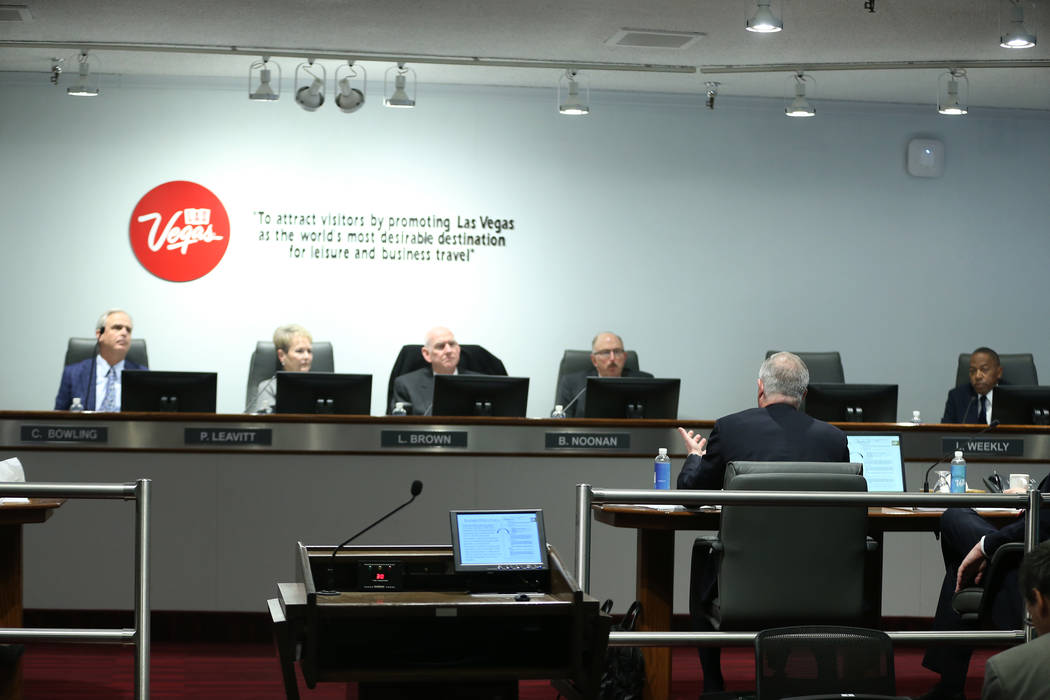 Board members listen to Steve Hill, CEO for the Las Vegas Convention and Visitors Authority, speak during a board meeting at the Las Vegas Convention Center in Las Vegas, Tuesday, Feb. 12, 2019. ( ...