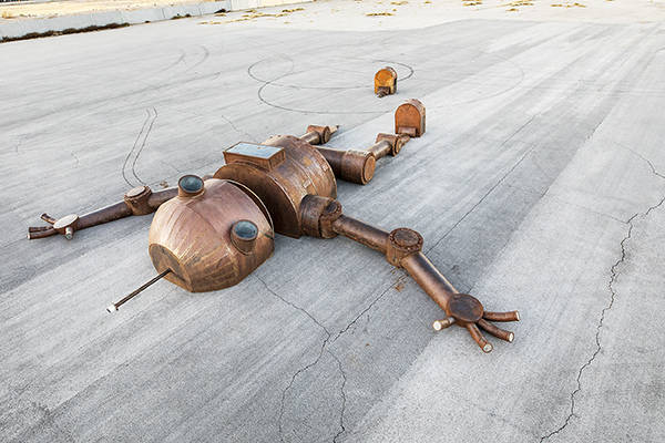 Mechan 9, by artist Tyler Fuqua originally debuted at burning Man. He sits at Area15. The Vox Agency