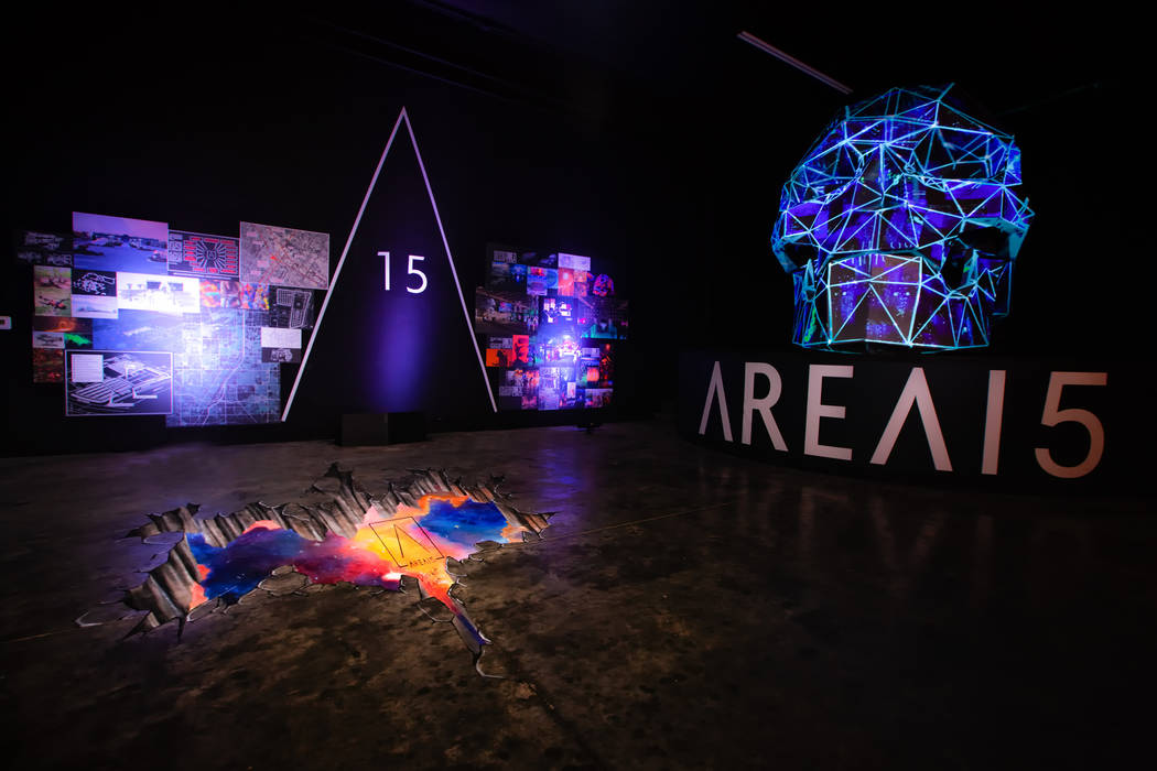 Bart Kresa's 12-foot-tall skull with 3D projection mapping will sit at the Area15 entrance. The Vox Agency