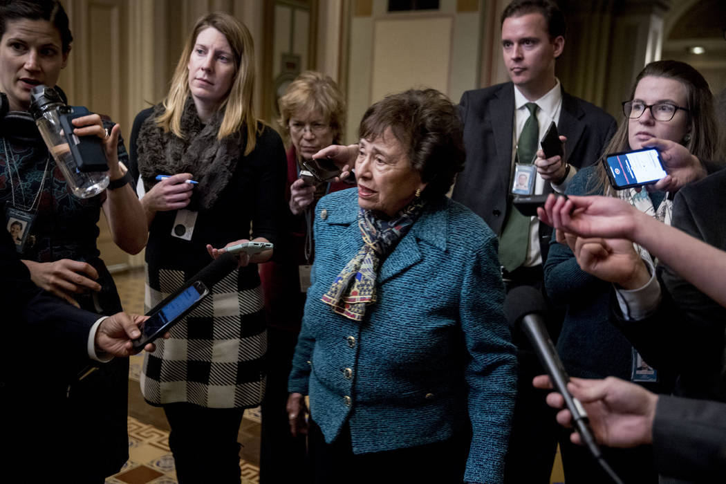 House Appropriations Committee Chair Nita Lowey, D-N.Y., speaks to reporters as she arrives for a closed-door meeting at the Capitol as bipartisan House and Senate bargainers trying to negotiate a ...