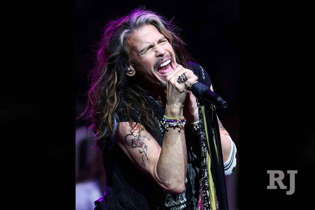 Steven Tyler of Aerosmith performs at the start of the fourth day of the Professional Bull Riders World Finals at the T-Mobile Arena in Las Vegas on Saturday, Nov. 5, 2016. (Chase Stevens/Las Vega ...