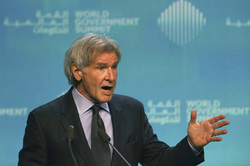 Harrison Ford speaks about ocean conservation at the World Government Summit in Dubai, United Arab Emirates, Tuesday, Feb. 12, 2019. Ford offered an emphatic plea for protecting the world's oceans ...