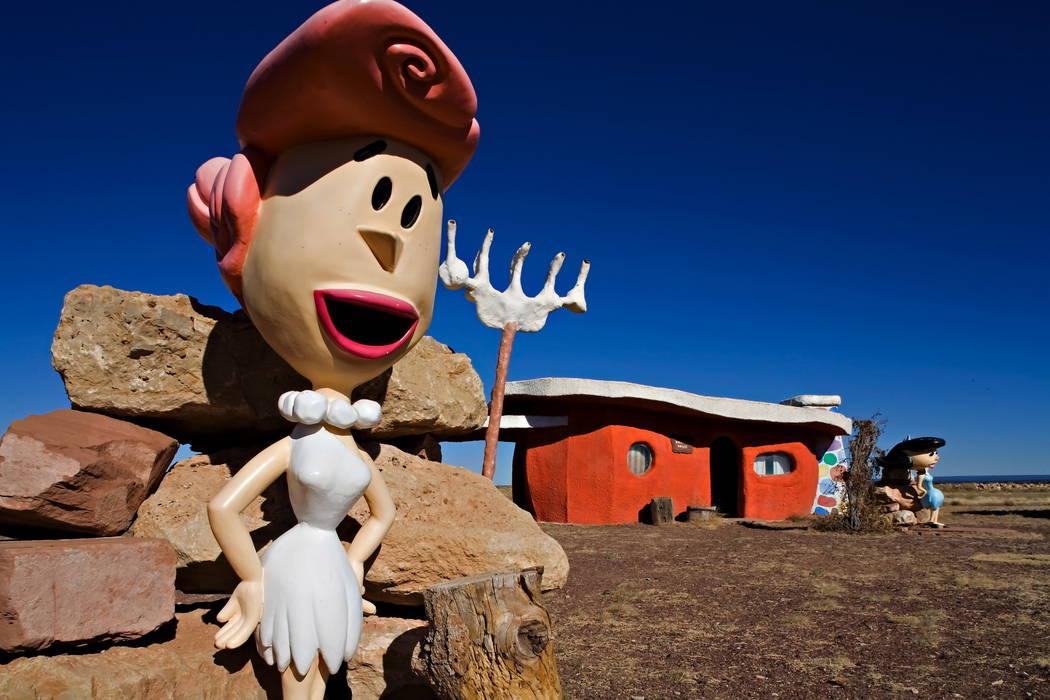 In this Nov. 11, 2008, file photo, provided by Richard Maack, a Wilma Flintstone figure is seen at the Flintstones Bedrock City theme park near Williams, Ariz. (Richard Maack via AP, File)