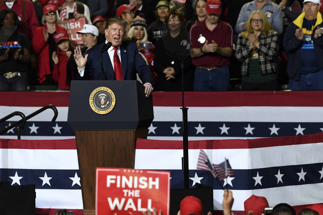 President Donald Trump speaks during a rally in El Paso, Texas, Monday, Feb. 11, 2019. (Susan Walsh/AP)