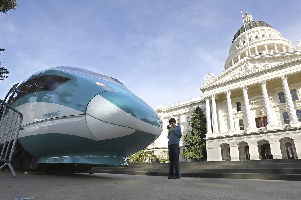 A full-scale mock-up of a high-speed train is displayed at the Capitol in Sacramento, Calif., in 2015. (Rich Pedroncelli/AP)