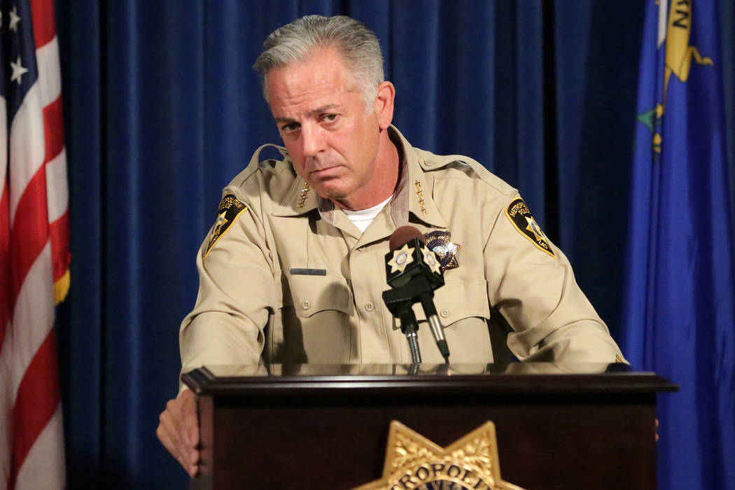 Sheriff Joe Lombardo takes questions during a press conference at Las Vegas Metropolitan Police Headquarters on Friday, August 3, 2018. Michael Quine / Las Vegas Review-Journal @Vegas88s