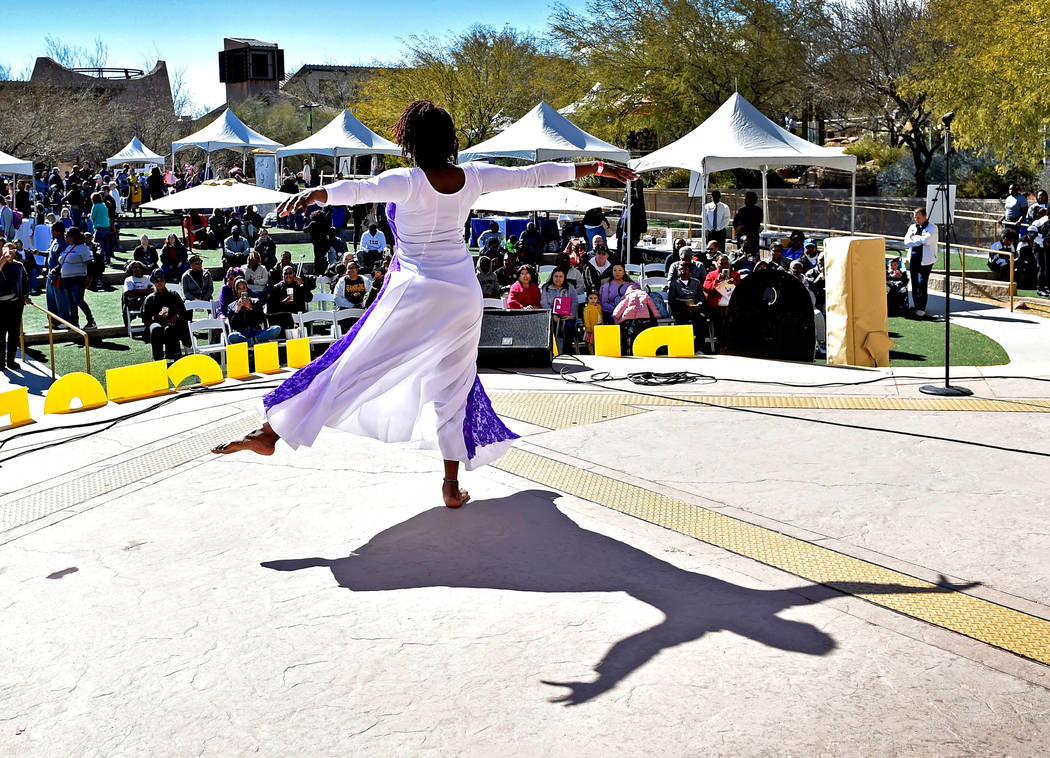 Dara Harris with the Bethesda Church of God in Christ Praise Dancers perform during the Black History Month Festival at the Springs Preserve Saturday, Feb. 16, 2019, in Las Vegas. The 10th annual ...