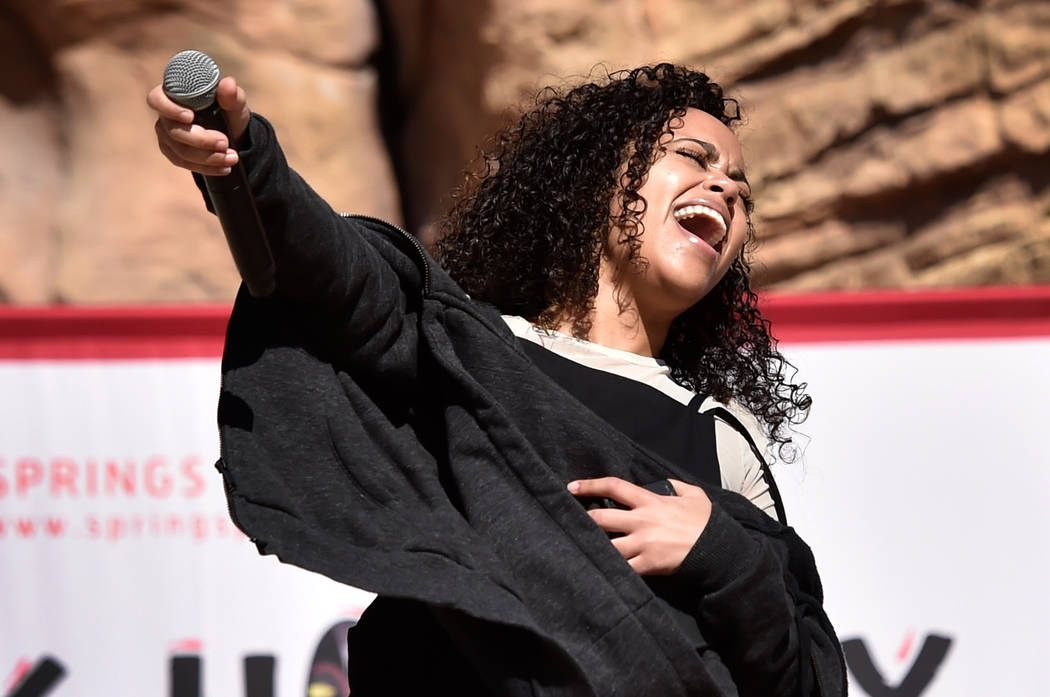 Singer Tiffanne LeMay performs during the Black History Month Festival at the Springs Preserve Saturday, Feb. 16, 2019, in Las Vegas. The 10th annual event celebrated the contributions of African- ...