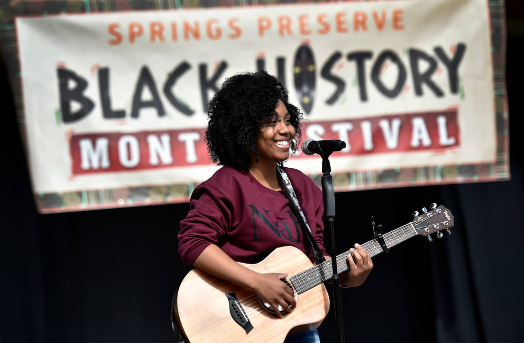 Kiara Brown of Kiara Musik performs during the Black History Month Festival at the Springs Preserve Saturday, Feb. 16, 2019, in Las Vegas. The 10th annual event celebrated the contributions of Afr ...