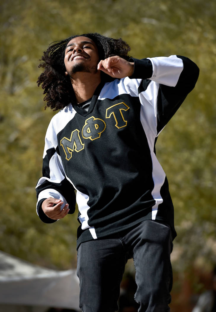 Evan Harris of Alpha Men & Divas of Tomorrow performs during the Black History Month Festival at the Springs Preserve Saturday, Feb. 16, 2019, in Las Vegas. The 10th annual event celebrated th ...