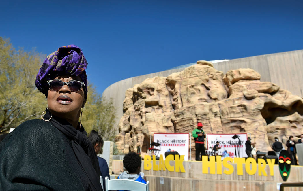 Jackie Bell of Las Vegas looks on during the Black History Month Festival at the Springs Preserve Saturday, Feb. 16, 2019, in Las Vegas. The 10th annual event celebrated the contributions of Afric ...