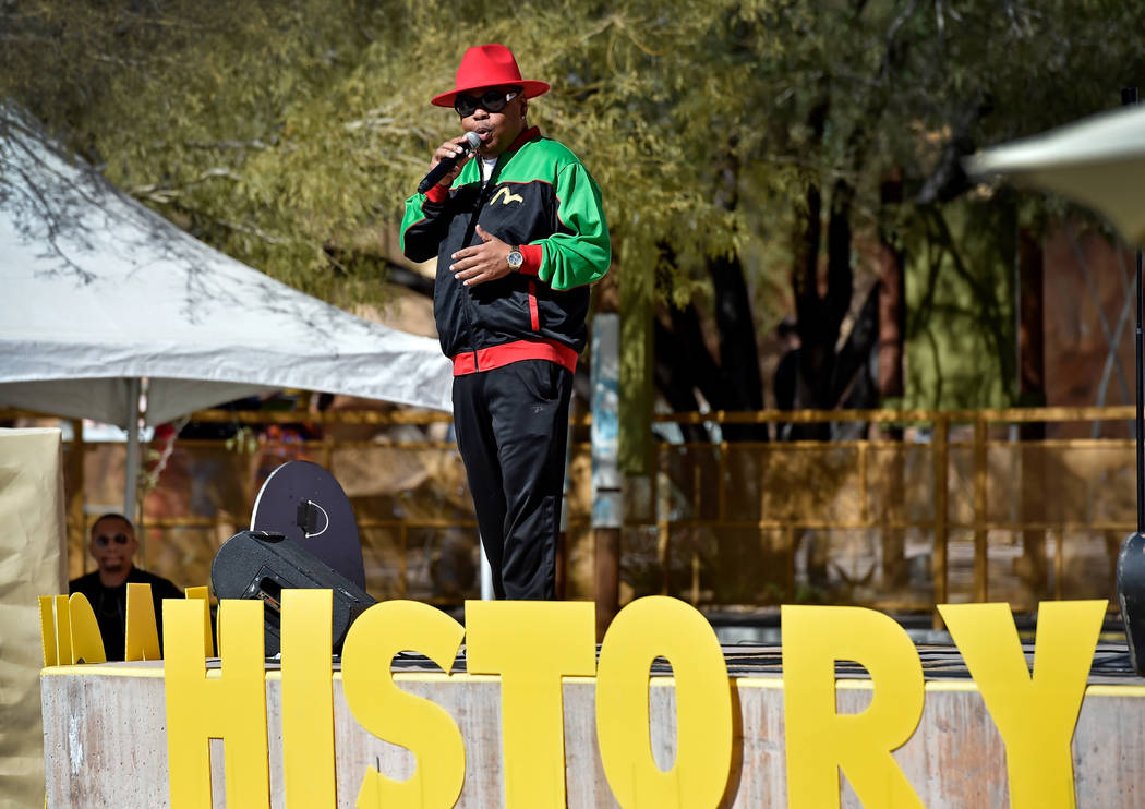 Emcee Lou Collins speaks during the Black History Month Festival at the Springs Preserve Saturday, Feb. 16, 2019, in Las Vegas. The 10th annual event celebrated the contributions of African-Americ ...