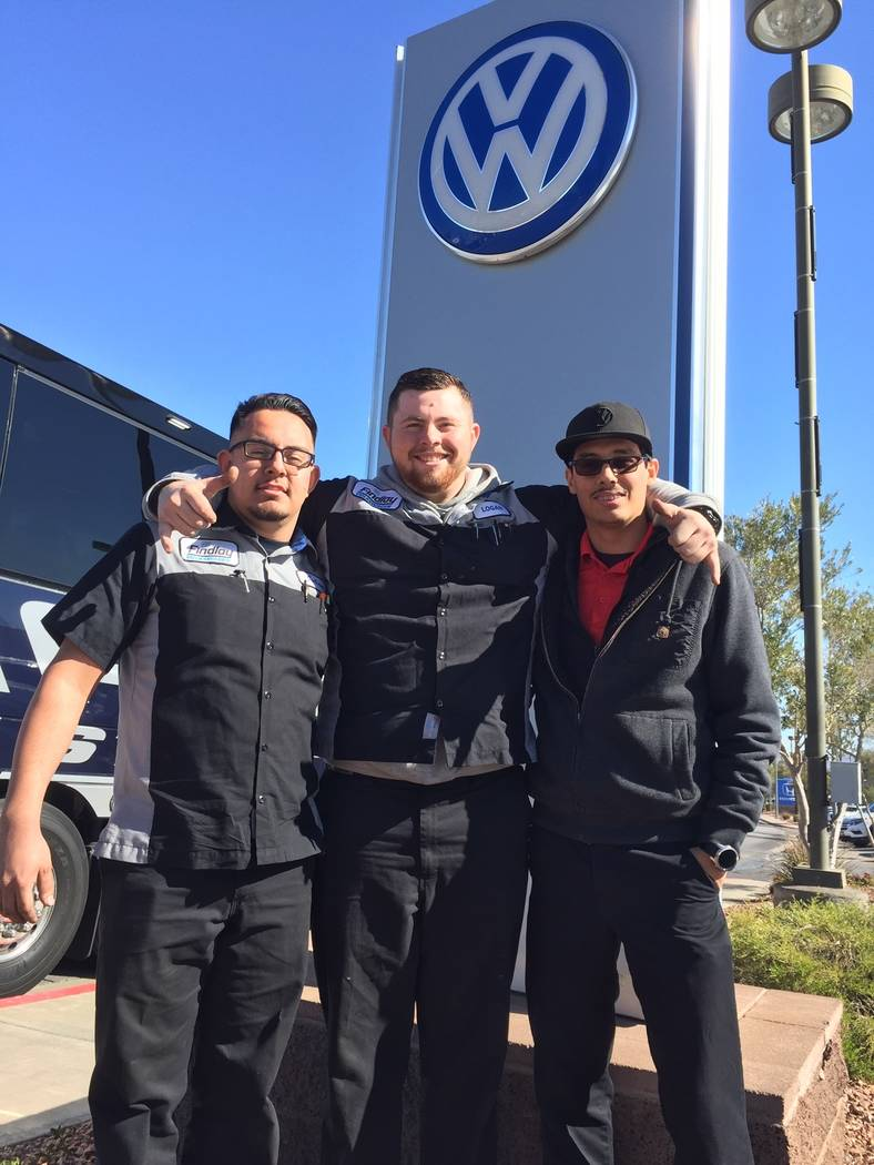 From left, Julian Duenes, Logan Campbell and Aureliano Mendivil, all now employees of Findlay Volkswagen Henderson in the Valley Automall, attended a past SkillsUSA Auto Tech competition. (Findlay)
