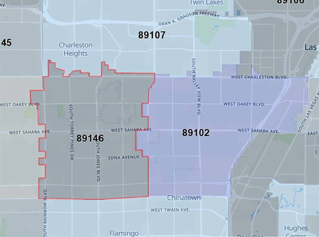 Areas where power outage is occurring in Las Vegas, Feb. 12, 2019. (UnitedStateszipcodes.org)