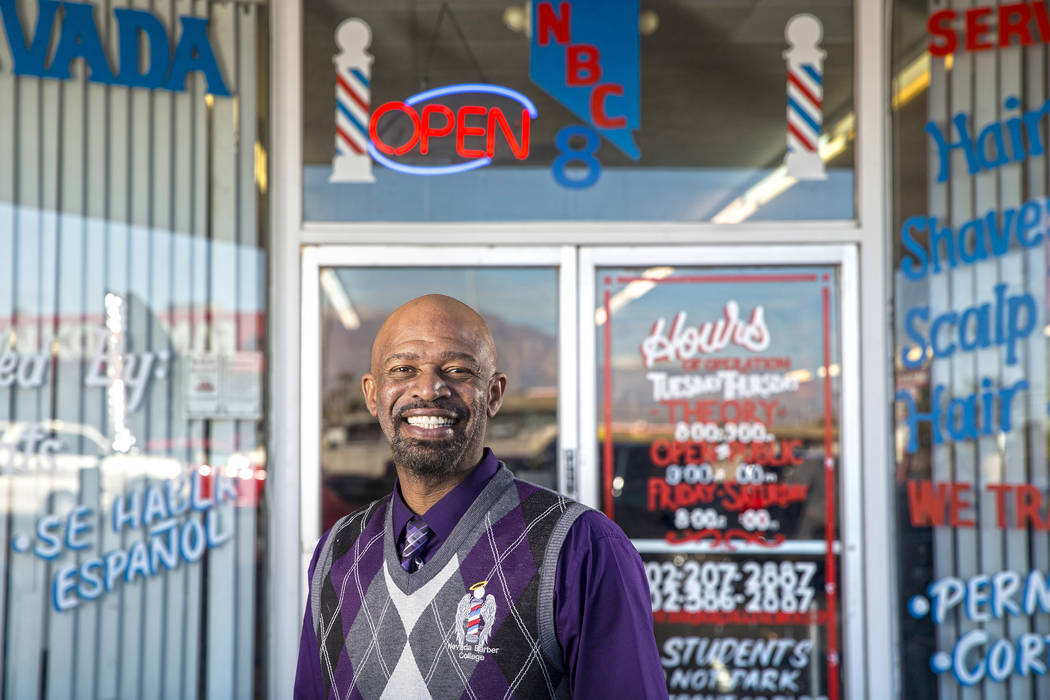 Royal Byron, founder and owner of Nevada's First Barber School, on Friday, Feb. 8, 2019, at the school in Las Vegas. (Benjamin Hager/Las Vegas Review-Journal) @BenjaminHphoto