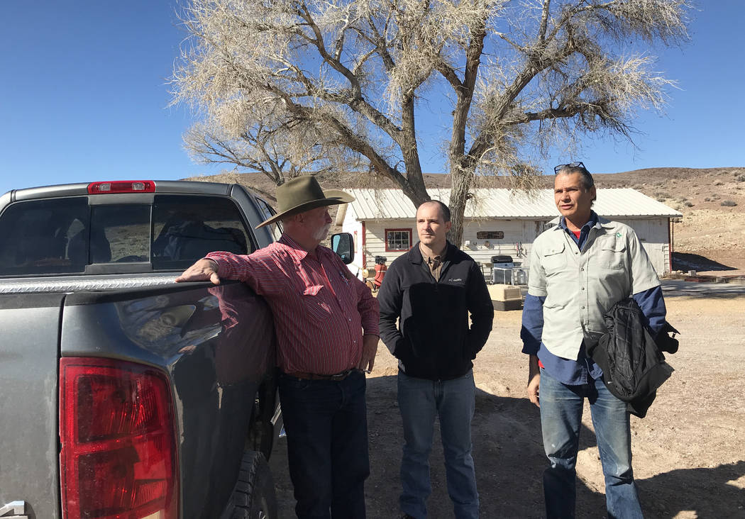 Rancher Hank Brackenbury, left, chats with John Zablocki, center, and Len Warren from The Nature Conservancy at the 7J Ranch on Feb. 8, 2019. Henry Brean Las Vegas Review-Journal