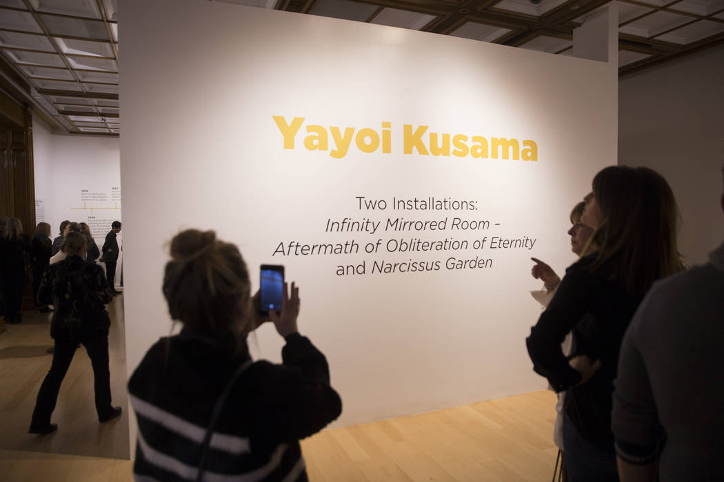 Attendees explore Yayoi Kusama's new exhibit at Bellagio Gallery of Fine Art on Friday, Nov. 16, 2018, in Las Vegas. Benjamin Hager Las Vegas Review-Journal