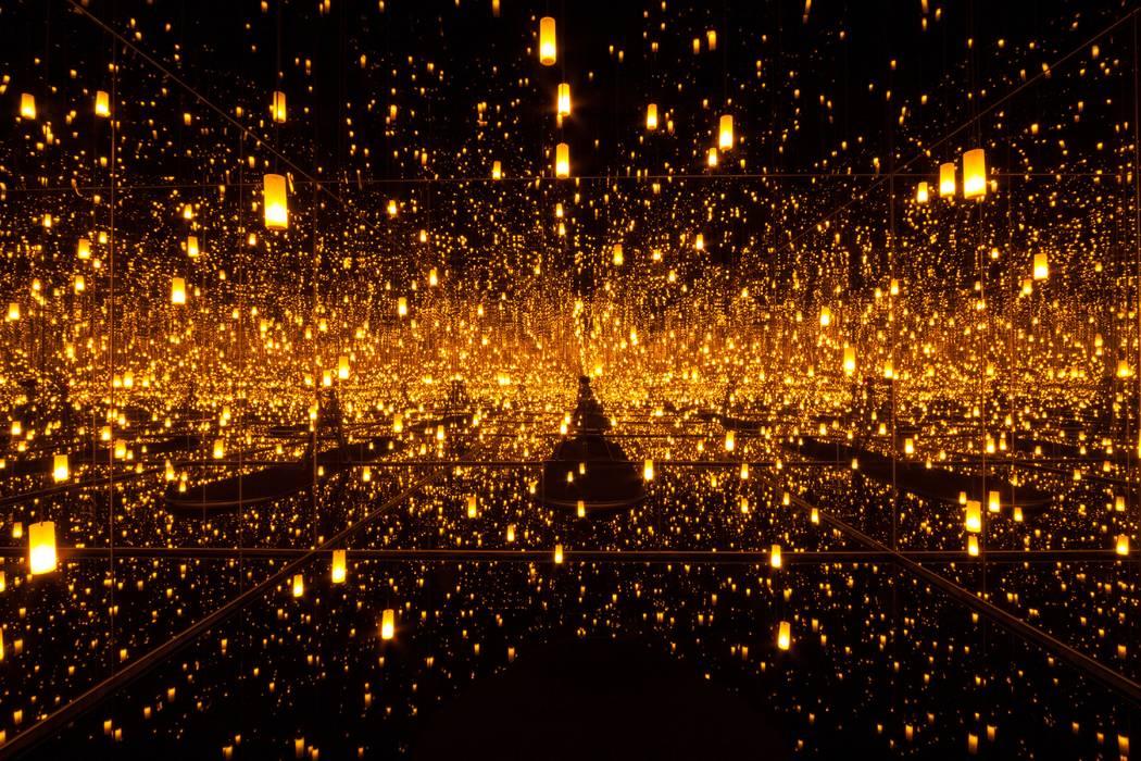 Yayoi Kusama, Aftermath of Obliteration of Eternity, 2009, Wood, mirror, plastic, acrylic, LED and aluminum installation, 415 x 415 x 287.4 cm, 163 x 163 x 113 in. © YAYOI KUSAMA. Courtesy Ota Fi ...