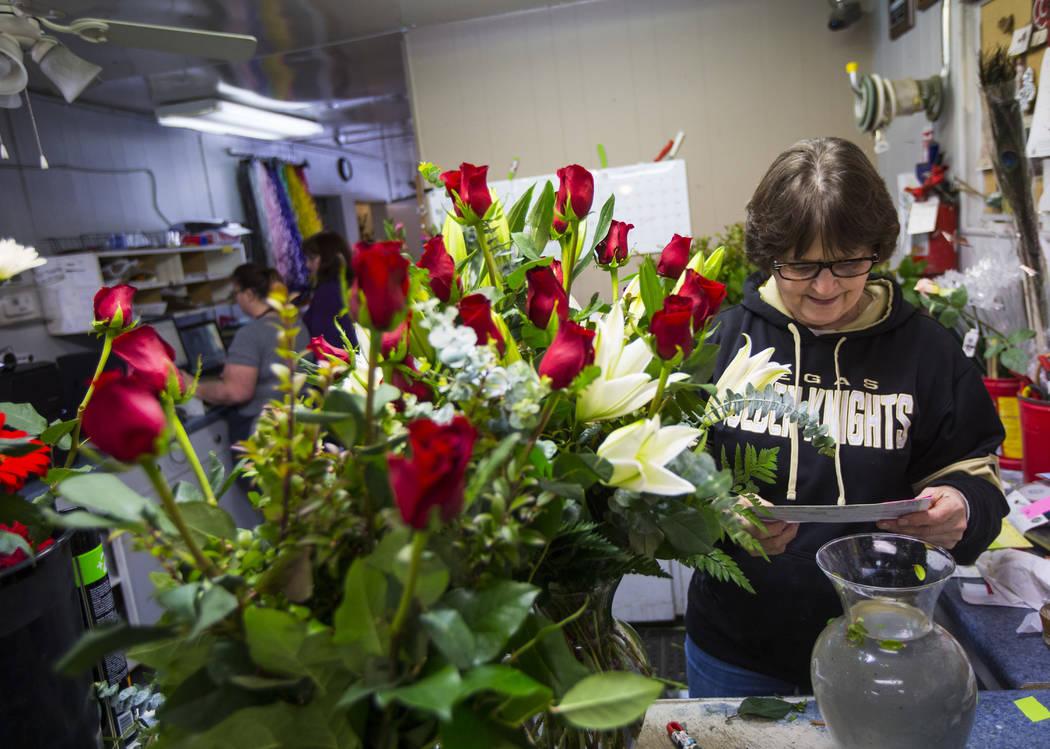 Susan DiBella prepares floral bouquets ahead of Valentine's Day at DiBella Flowers & Gifts in Las Vegas on Tuesday, Feb. 12, 2019. (Chase Stevens/Las Vegas Review-Journal) @csstevensphoto