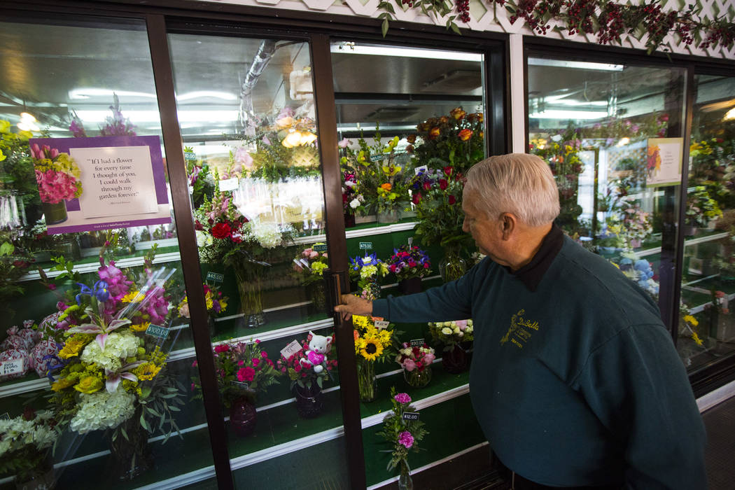 John DiBella, owner of DiBella Flowers & Gifts, shows off Valentine's Day floral specials in Las Vegas on Tuesday, Feb. 12, 2019. (Chase Stevens/Las Vegas Review-Journal) @csstevensphoto