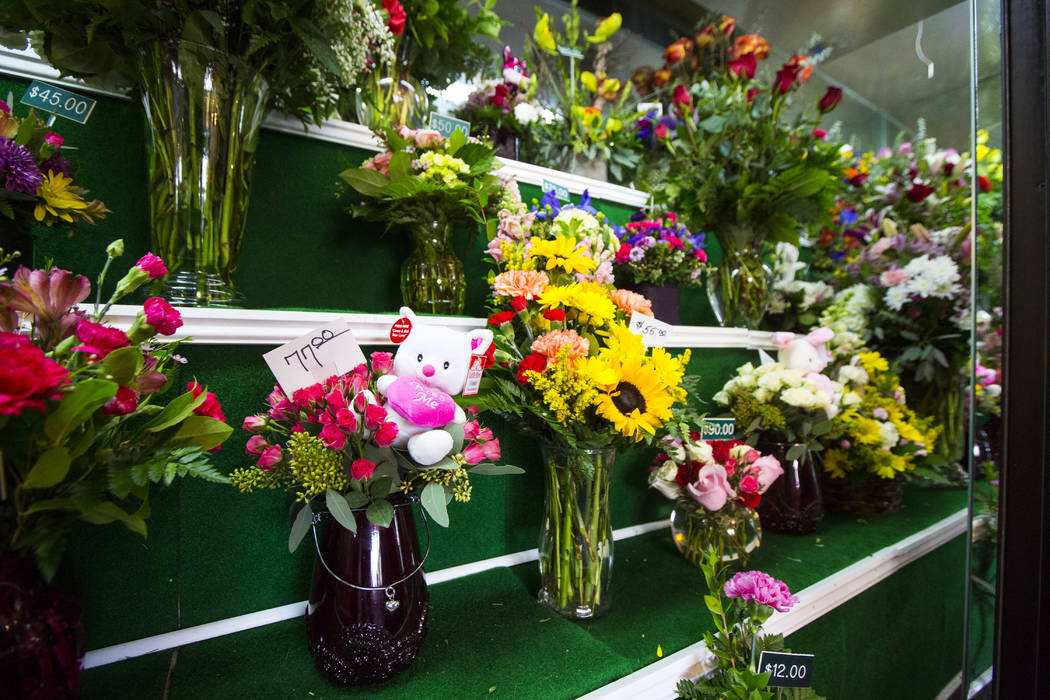 Floral displays for Valentine's Day at DiBella Flowers & Gifts in Las Vegas on Tuesday, Feb. 12, 2019. (Chase Stevens/Las Vegas Review-Journal) @csstevensphoto