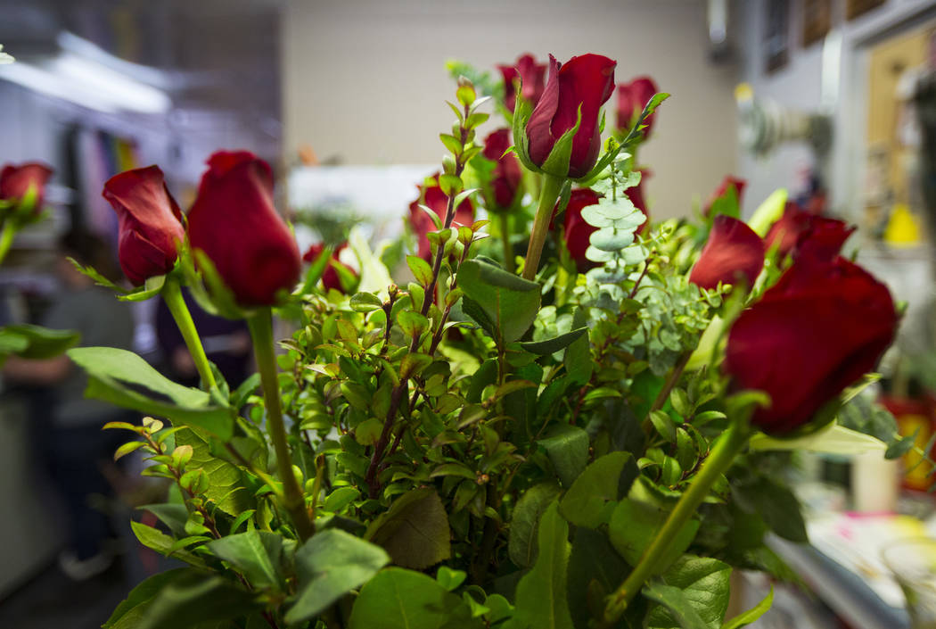 Roses in a bouquet ahead of Valentine's Day at DiBella Flowers & Gifts in Las Vegas on Tuesday, Feb. 12, 2019. (Chase Stevens/Las Vegas Review-Journal) @csstevensphoto