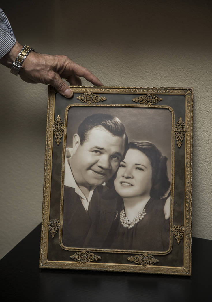 A photo of Babe Ruth, left, with wife Claire, at the home of grandson Tom Stevens on Thursday, Jan. 31, 2019, in the Las Vegas Valley. (Benjamin Hager/Las Vegas Review-Journal) @BenjaminHphoto