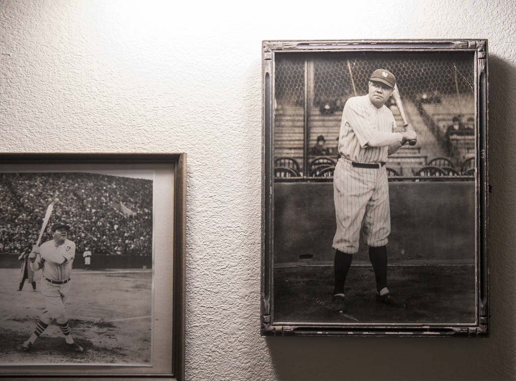 Photos of New York Yankee Hall of Fame slugger Babe Ruth hang on the wall of grandson Tom Stevens' home on Thursday, Jan. 31, 2019, in the Las Vegas Valley. (Benjamin Hager/Las Vegas Review-Journa ...