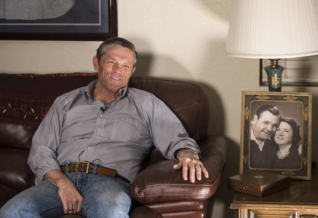 Tom Stevens, the grandson of New York Yankee Hall of Fame slugger Babe Ruth, on Thursday, Jan. 31, 2019, at Stevens' home, in the Las Vegas Valley. (Benjamin Hager/Las Vegas Review-Journal) @Benja ...