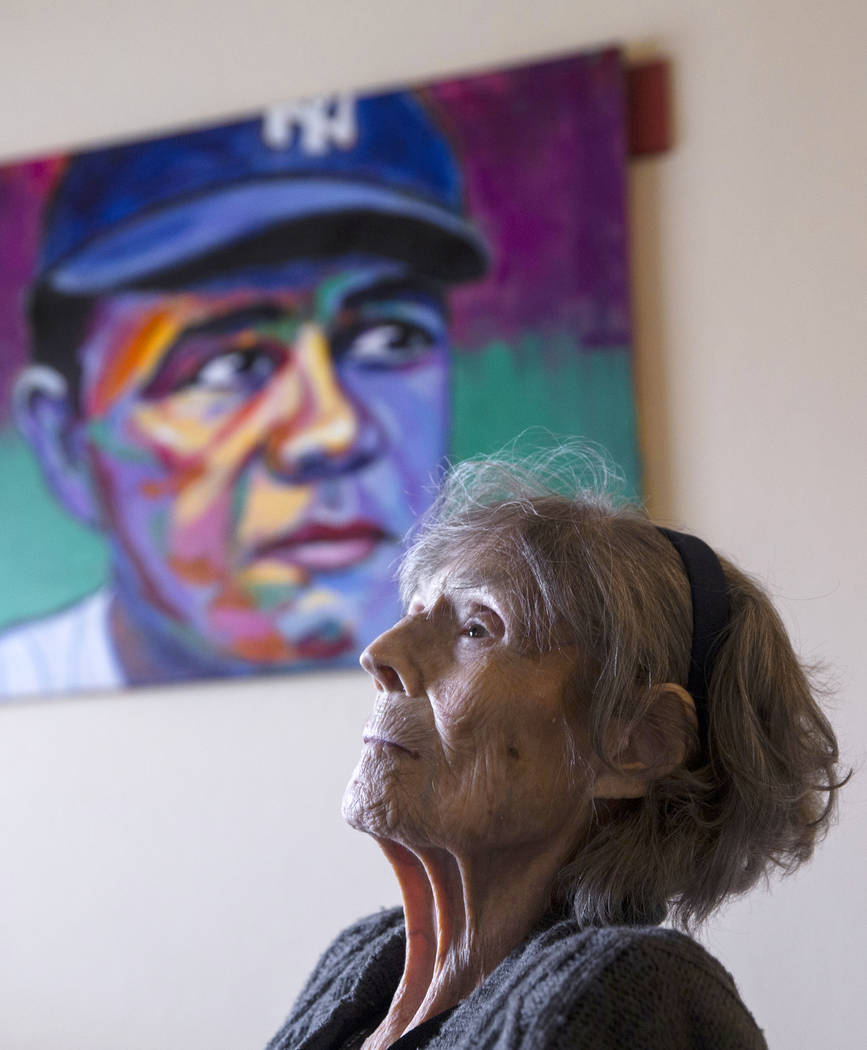 Julia Ruth Stevens, 102, the daughter of New York Yankee Hall of Fame slugger Babe Ruth, on Saturday Feb. 2, 2019, at Stevens' home, in the Las Vegas Valley. (Benjamin Hager/Las Vegas Review-Journ ...