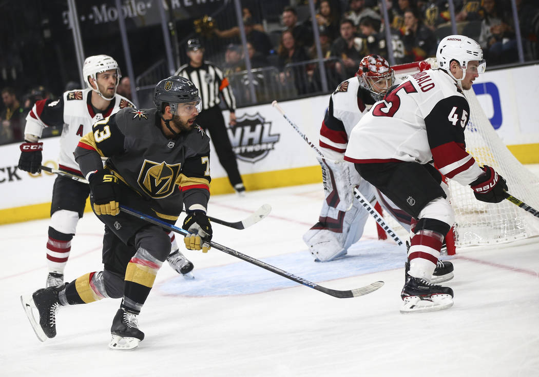 Golden Knights center Brandon Pirri (73) skates after the puck during the second period of an NHL hockey game against the Arizona Coyotes at T-Mobile Arena in Las Vegas on Tuesday, Feb. 12, 2019. ...