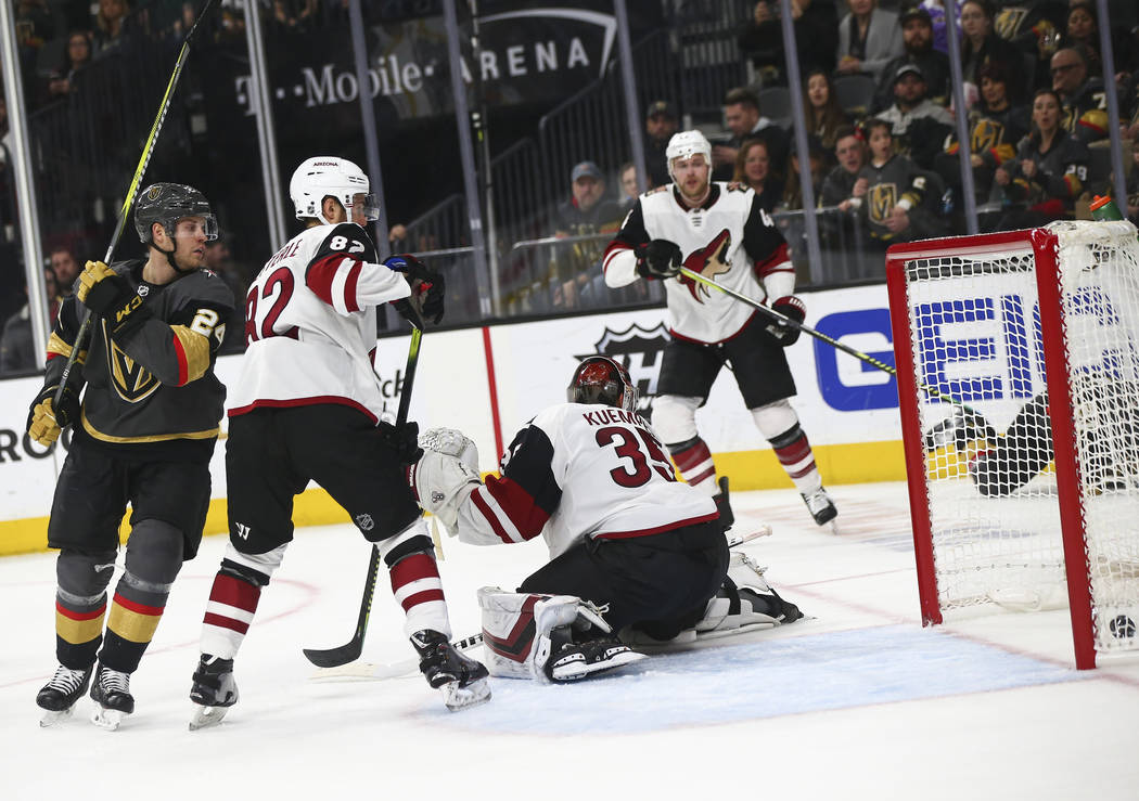 Golden Knights center Brandon Pirri, not pictured, scores past Arizona Coyotes goaltender Darcy Kuemper (35) during the second period of an NHL hockey game at T-Mobile Arena in Las Vegas on Tuesda ...