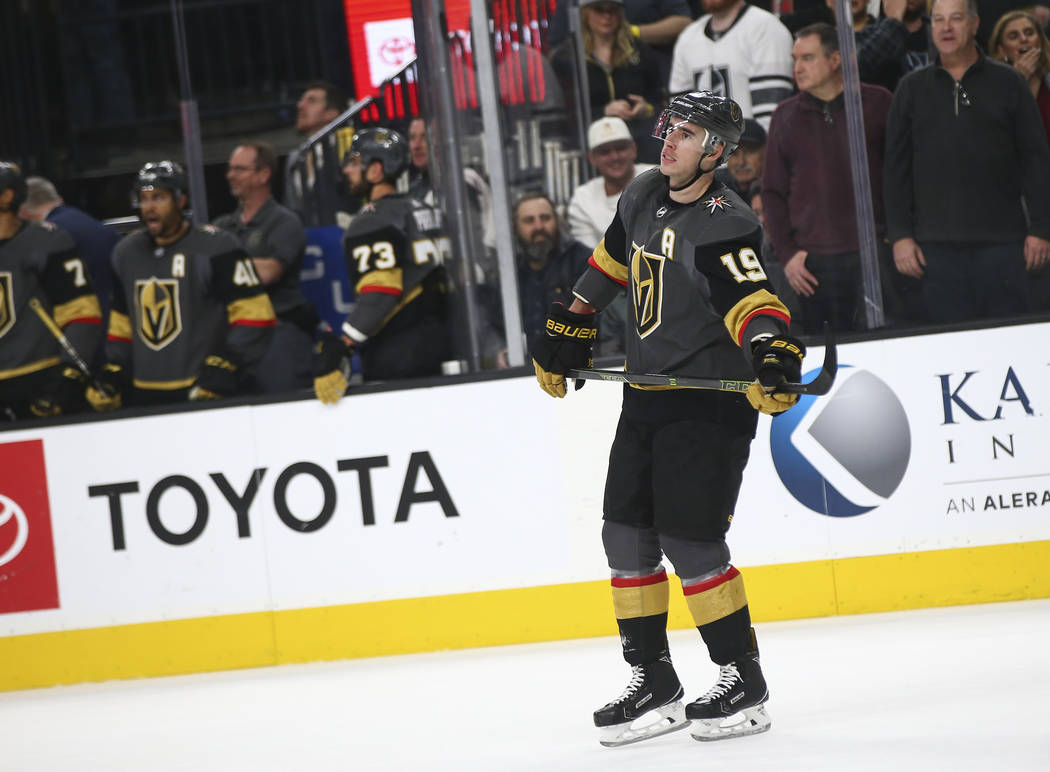 Golden Knights right wing Reilly Smith (19) reacts after hitting the post on a penalty shot against the Arizona Coyotes during the second period of an NHL hockey game at T-Mobile Arena in Las Vega ...