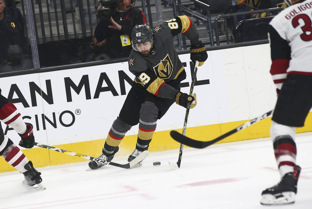 Golden Knights right wing Alex Tuch (89) moves the puck against the Arizona Coyotes during the first period of an NHL hockey game at T-Mobile Arena in Las Vegas on Tuesday, Feb. 12, 2019. (Chase S ...